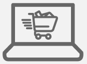 Icon of a laptop with a shopping cart on it